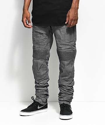 American Stitch Raw Grey Moto Denim Jeans