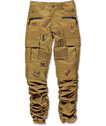 American Stitch Scrunch Patched Khaki Boys Jogger Pants