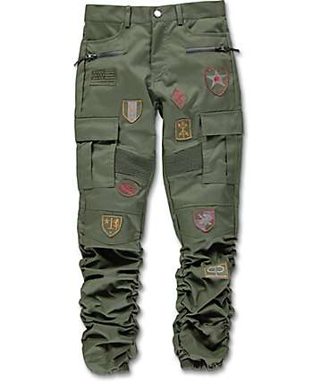 American Stitch Scrunch Patched Olive Boys Jogger Pants
