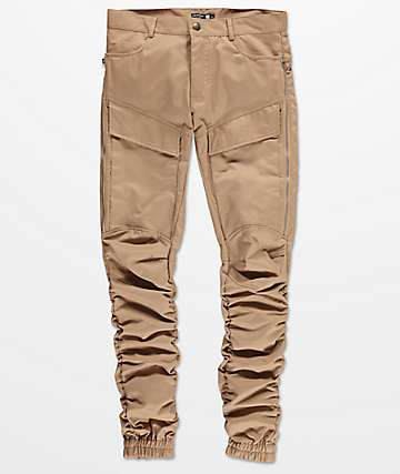 American Stitch Side Zip Bungee Leg Twill Cargo Khaki Pants