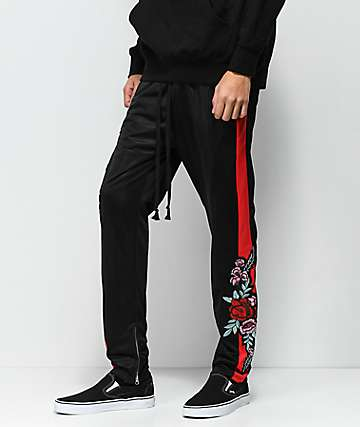 American Stitch Tricot Rose Black & Red Track Pants