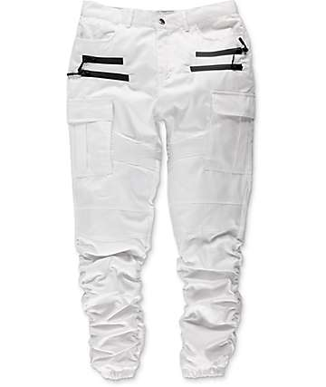American Stitch Twill Cargo Bungee White Jogger Pants