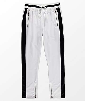 American Stitch White & Black Ribbed Track Pants