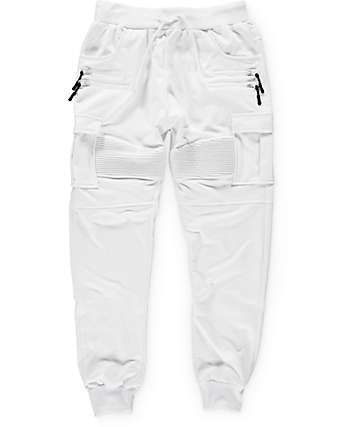 American Stitch White Cargo Terry Jogger Pants