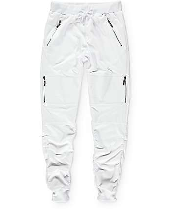American Stitch White Terry Side Zip Bungee Jogger Pants