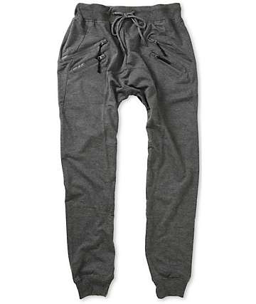 American Stitch Zipper Jogger Grey Sweatpants