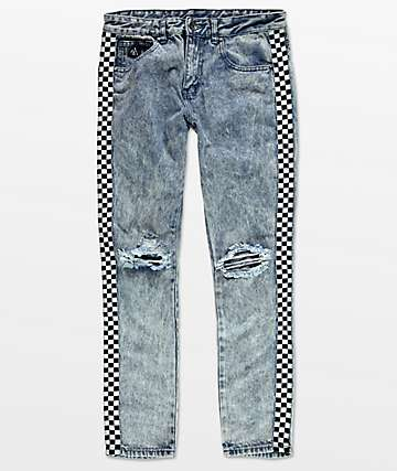 American Stitch jeans azules lavados con acido con cinta en blanco y negro