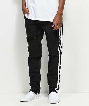 American Stitch jeans destruidos con lados en negro y blanco