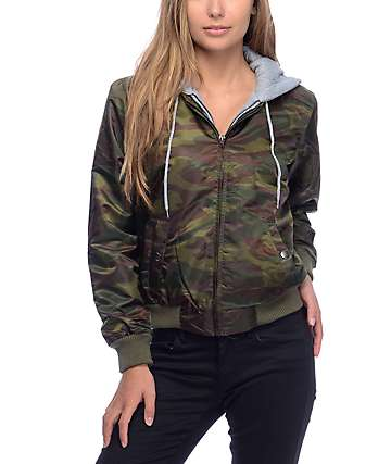 Angel Kiss Milly Fleece Hood Camo Bomber Jacket