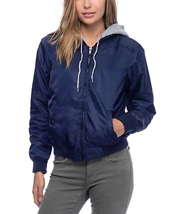 Angel Kiss Milly Fleece Hood Navy Bomber Jacket