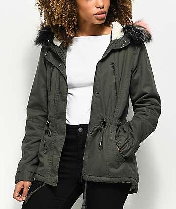 Angel Kiss Olive Sherpa Lined Jacket