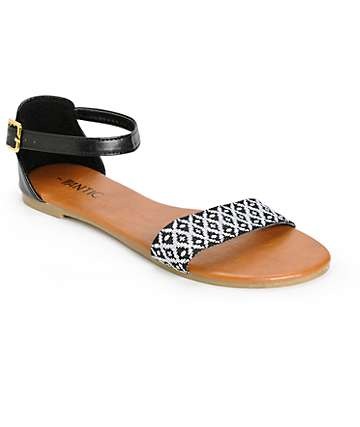 Antic Black & White Woven Strap Sandals