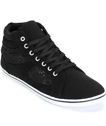 Antic Black Crochet High Top Shoes