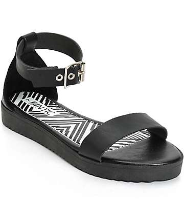 Antic Black Flatform Sandals