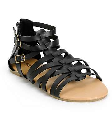 Antic Black Gladiator Sandals