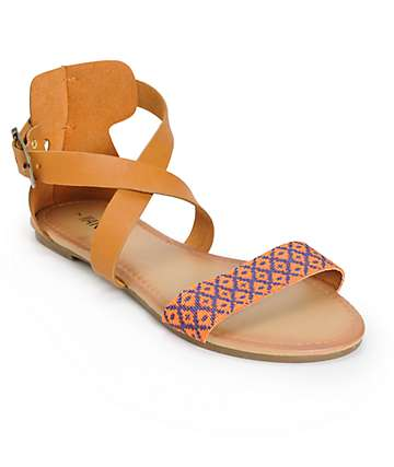 Antic Orange & Blue Woven Strap Sandals