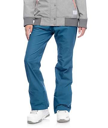 Aperture Crystal pantalones de snowboard elásticos 10K en verde azulado