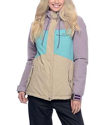 Aperture Heaven 10K chaqueta de snowboard en colores mora, verde azulado y caqui