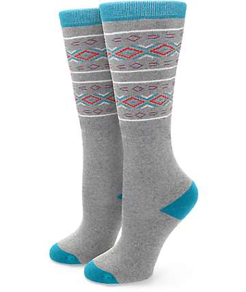 Aperture Jaymie Grey & Teal Snow Socks