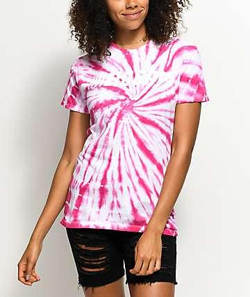 Artist Collective IDGAF Cup Pink Spiral Tie Dye T-Shirt