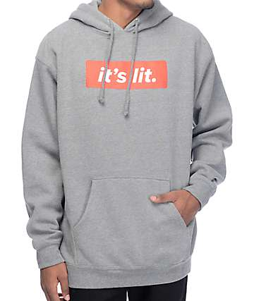 Artist Collective Its Lit Athletic Grey Hoodie