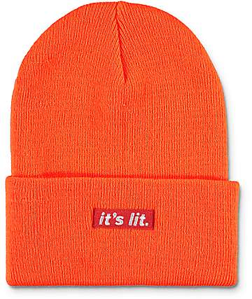 Artist Collective Its Lit Neon Orange Beanie