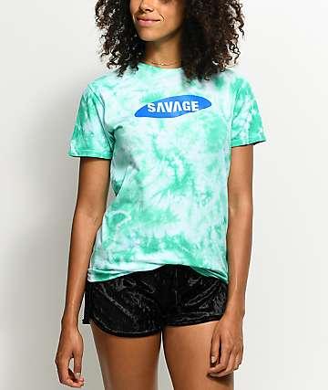 Artist Collective Savage 4K Seafoam Crinkle Tie Dye T-Shirt