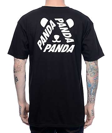 Artist Collective Tri-Panda Face Black T-Shirt