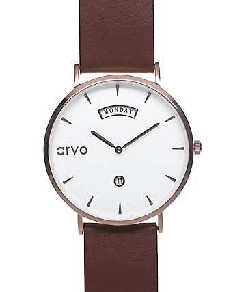 Arvo Awristacrat reloj en marrón y color latón