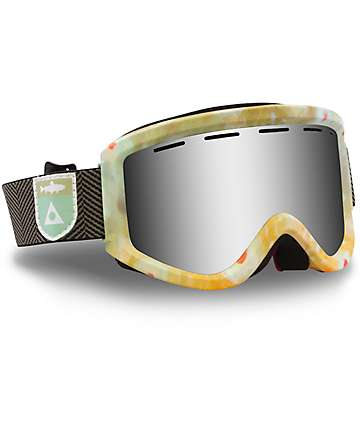 Ashbury Warlock Green & Orange Tie Dye Silver Lens Snow Goggles