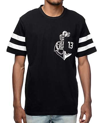 Asphalt Unlucky 13 Black Pocket T-Shirt