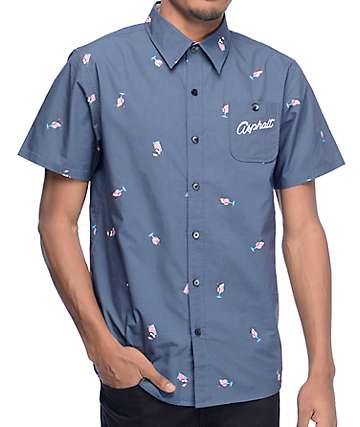 Asphalt Yacht Club Lemonade Navy Short Sleeve Button Up Shirt