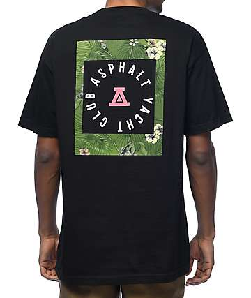 Asphalt Yacht Club Olive Hawaiian Black T-Shirt