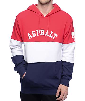 Asphalt Yacht Club Perfomance Triblock Red, White & Navy Pullover Hoodie