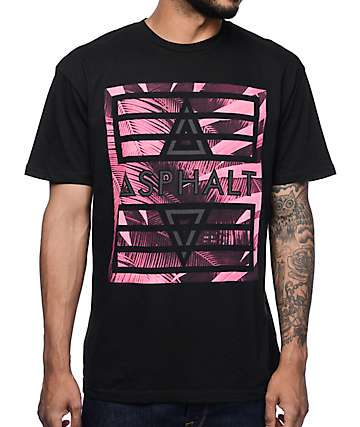 Asphalt Yacht Club Pink Palm Black T-Shirt