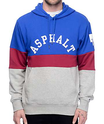 Asphalt Yacht Club Triblock Navy, Red, and Grey Hoodie