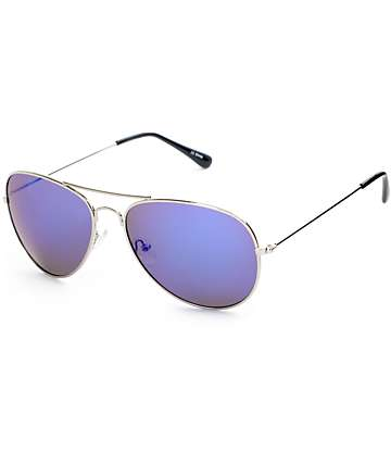 Aviator Silver & Blue Mirror Sunglasses