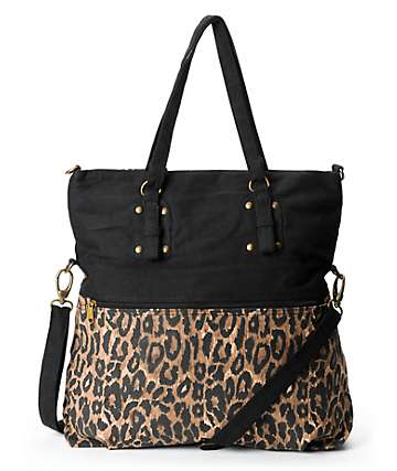 Barganza Leopard Print Canvas Tote Bag