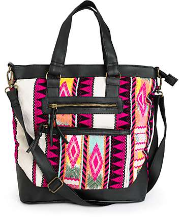Barganza Pink Tribal Stripe Tote Bag