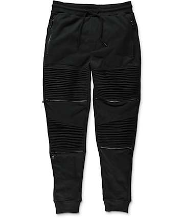 Basic Math Black Zipper Joggers