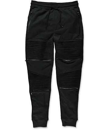 Basic Math Black Zipper Joggers
