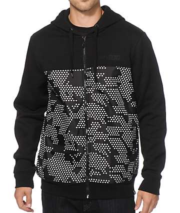 Basic Math Camo Zip Up Hoodie