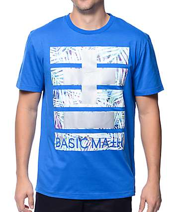 Basic Math Palm Floral Cross Blue T-Shirt