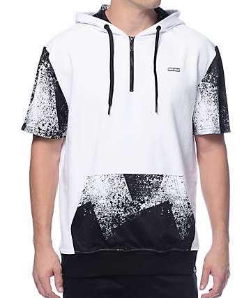 Basic Math Splatter White & Black Short Sleeve Hoodie