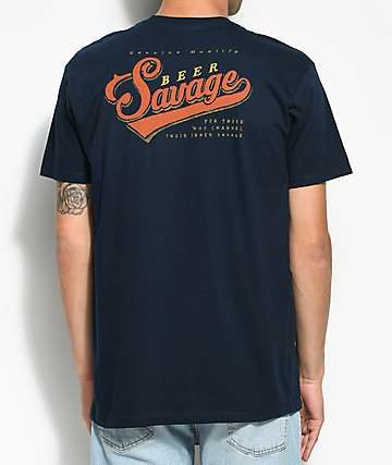 Beer Savage Genuine Savage Navy T-Shirt