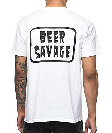 Beer Savage Patched camiseta blanca