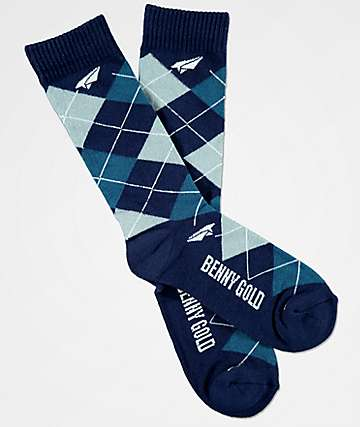 Benny Gold Blue Argyle Crew Socks