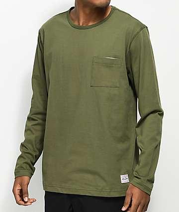 Benny Gold Sideline Olive Long Sleeve Pocket T-Shirt