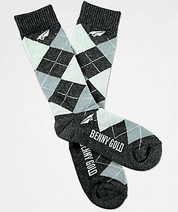 Benny Gold Steel Grey Argyle Crew Socks