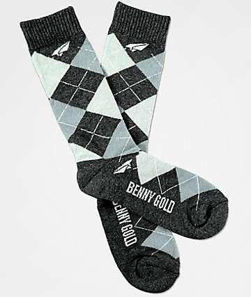 Benny Gold Steel Grey Argyle Crew Socks